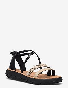 Jemsa Strap - platta sandaler - black combi lea