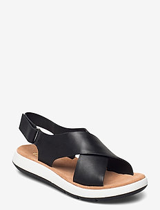 Jemsa Cross - platta sandaler - black leather