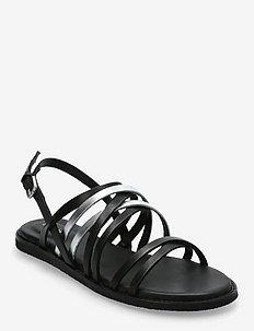 Karsea Ankle - platta sandaler - black combi lea