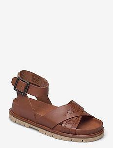 Orianna Cross - platta sandaler - dark tan combi