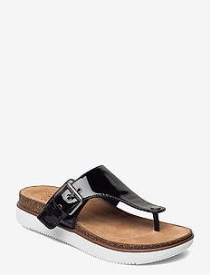 Elayne Step - platta sandaler - black pat lea