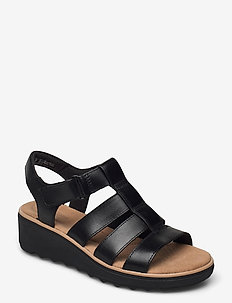 Jillian Quartz - platta sandaler - black leather