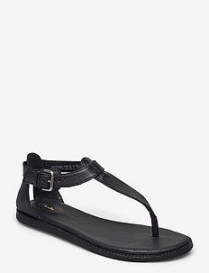 Karsea Post - platta sandaler - black leather