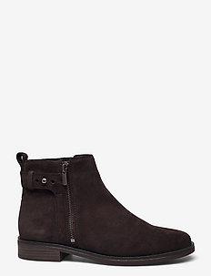 Memi Lo - platta ankelboots - dark brown suede