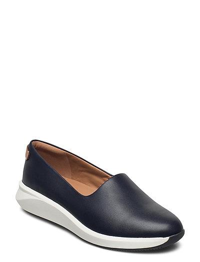 Un Rio Step Loafers Flache Schuhe Blau CLARKS