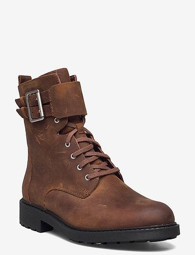 Orinoco2 Lace - platta ankelboots - brown wlined lea
