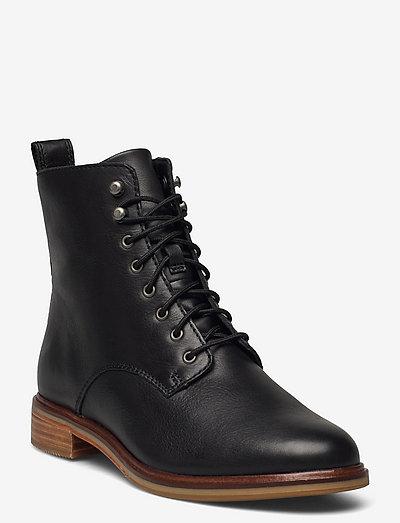 Clarkdale Lace - platta ankelboots - black leather