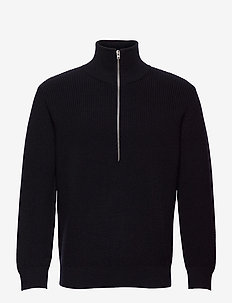 zipped jumper - half zip-tröjor - black navy