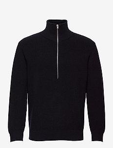 zipped jumper - truien met halve rits - black navy
