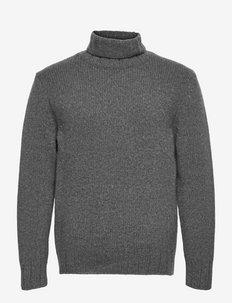 mens knit - basic gebreide truien - dark grey melange