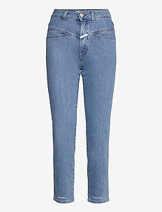 pedal pusher - straight jeans - mid blue