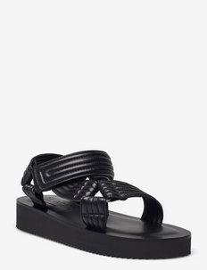 womens shoes - flade sandaler - black