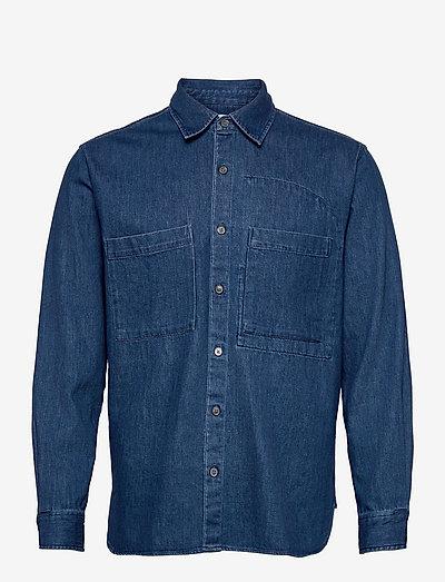 mens shirt - linneskjortor - mid blue