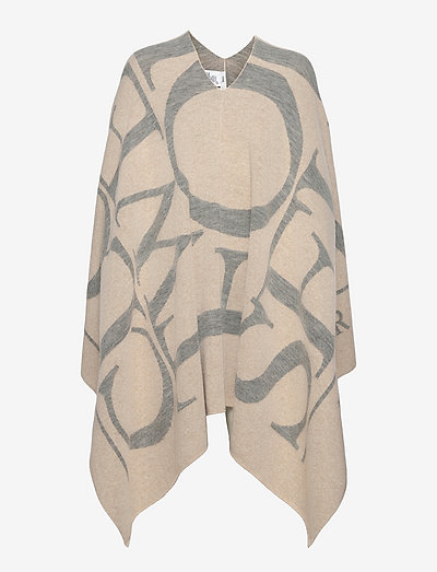 knitted poncho - ponchos & capes - almond cream