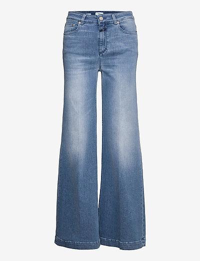 womens pant - hosen mit weitem bein - mid blue