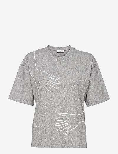 womens top - t-shirts - light grey melange