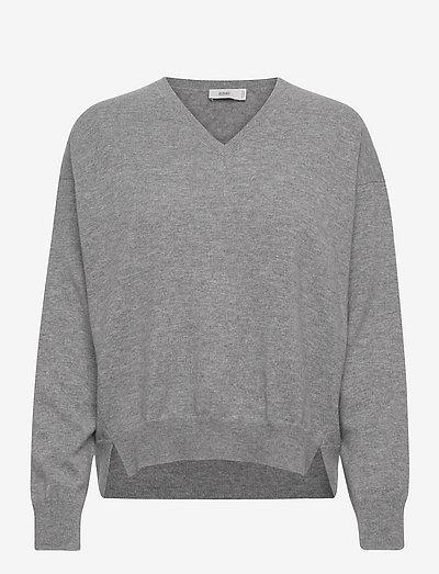 womens knits - tröjor - grey heather melange