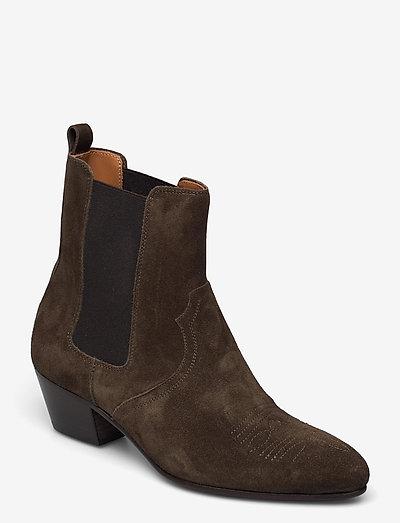 womens shoes - heeled ankle boots - sea tangle