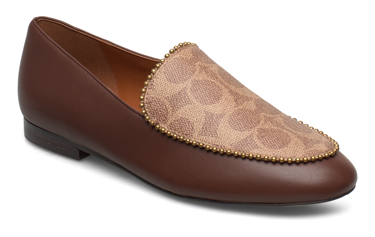 Coach Harper Beadchain Loafer- Signature Mix - DARK SADDLE/TAN