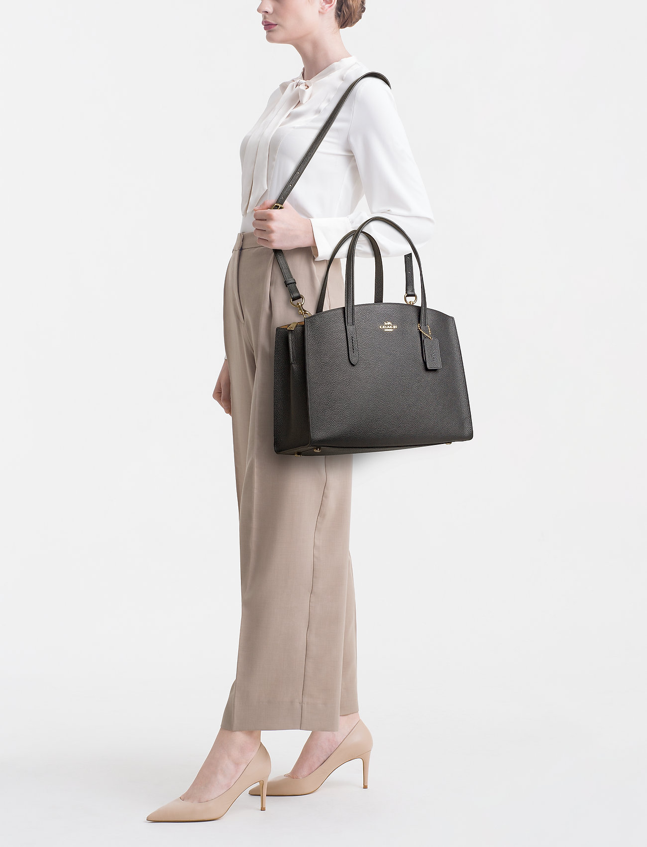 Coach Polished Pebble Leather Charlie Carryall - LI/BLACK