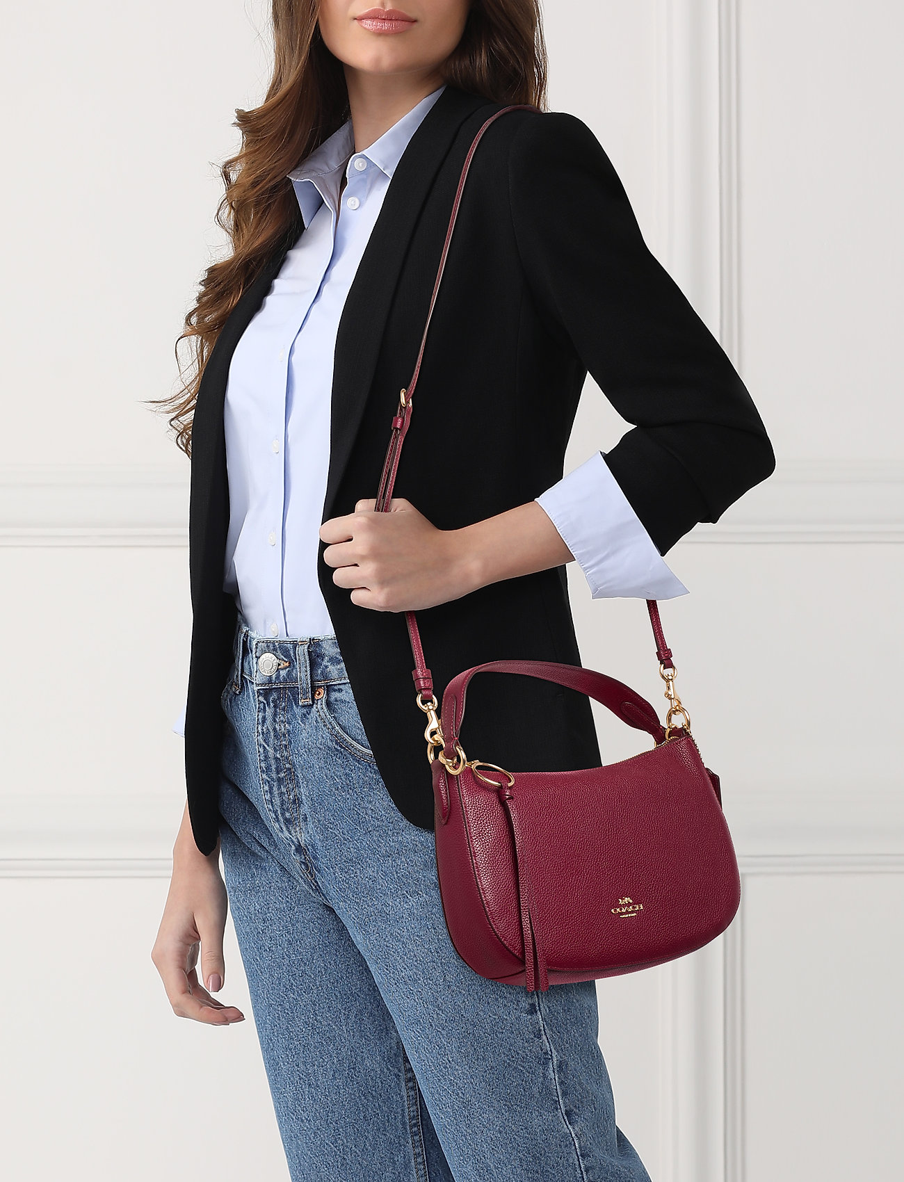 Coach Polished Pebble Leather Sutton Crossbody - GD/DEEP RED