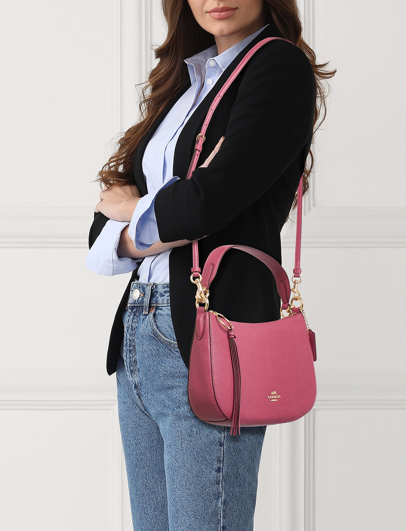Coach Polished Pebble Leather Sutton Crossbody - GD/DUSTY PINK