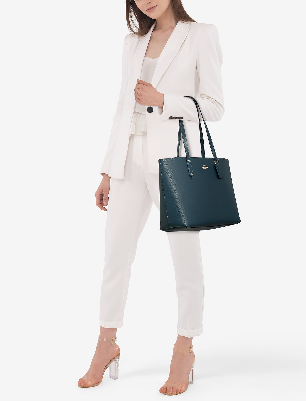 Coach Polished Pebble Leather Central Tote with Zip - GD/PEACOCK