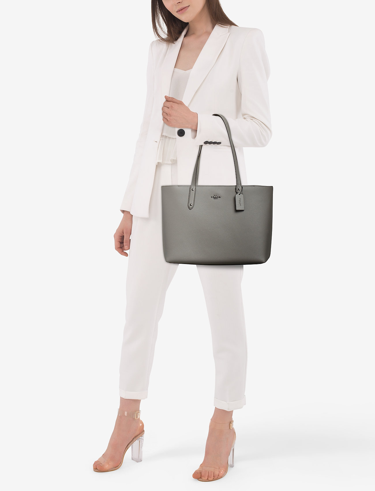 Coach Polished Pebble Leather Central Tote with Zip - GM/HEATHER GREY