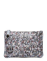 Coach X Keith Haring All Over Print Canvas Turnlock Pouch 26 - BP/ICE BLUE
