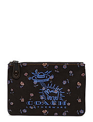 Coach X Keith Haring Print On Print Canvas Turnlock Pouch 26 - BP/BLACK