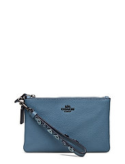 Heart Applique Small Wristlet - DK/CHAMBRAY LEATHER