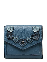 Heart Applique Small Wallet - DK/CHAMBRAY LEATHER