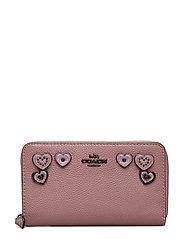 Heart Applique Medium Zip Around Wallet - BP/DUSTY ROSE LEATHER