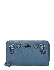 Heart Applique Medium Zip Around Wallet - DK/CHAMBRAY LEATHER