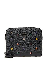 Rainbow Rivets Small Zip Around Wallet - DK/BLACK LEATHER