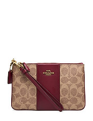Colorblock Coated Canvas Signature Small Wristlet - B4/TAN DEEP RED