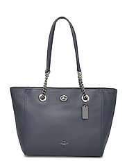 Polished Pbble Lthr Turnlock Chain Tote 27 - DK/NAVY LEATHER