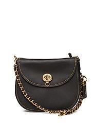 Glovetanned Leather Turnlock Saddle Bag - OL/BLACK