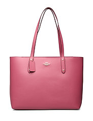 Polished Pebble Leather Central Tote with Zip - GD/DUSTY PINK