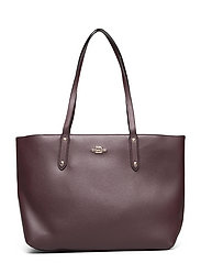 Polished Pebble Leather Central Tote with Zip - RED