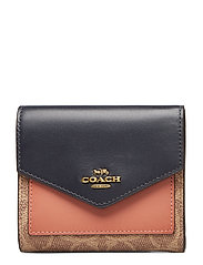 Colorblock Coated Canvas Signature Small Wallet - B4/TAN INK LIGHT PEACH