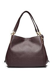 Polished Pebble Lthr Dalton 31 Shoulder Bag - GD/OXBLOOD