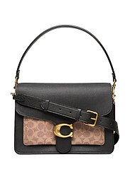 Coated Canvas Signature Mixed Leather Tabby Shoulder Bag - B4/TAN BLACK