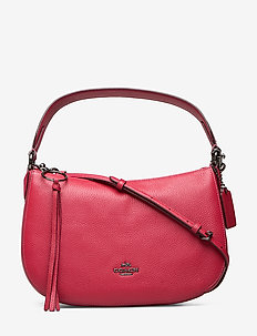 Polished Pebble Leather Sutton Crossbody - top handle tasker - red