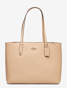 Polished Pebble Leather Central Tote with Zip - GD/BEECHWOOD