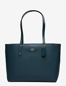 Polished Pebble Leather Central Tote with Zip - GD/PEACOCK