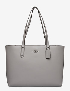 Polished Pebble Leather Central Tote with Zip - GM/HEATHER GREY