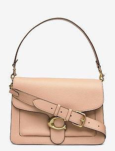 Polished Pebble Leather Tabby Shoulder Bag - top handle - b4/beechwood