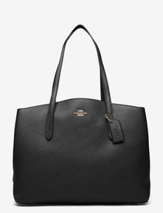 Polished Pebble Leather Charlie 40 with Laptop Compartment - fashion shoppers - gd/black