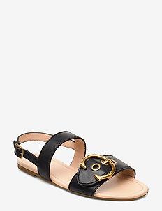 Jen C Buckle Sandal- Leather - BLACK